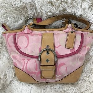 Coach Pink signature bucket bag